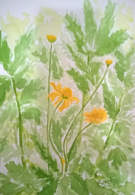 The Yellow Daisy in the Sun | Painting by artist Sindhulina Chandrasingh | watercolor | Paper