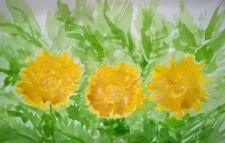 Yellow flowers - 4 | Painting by artist Sindhulina Chandrasingh | watercolor | Paper