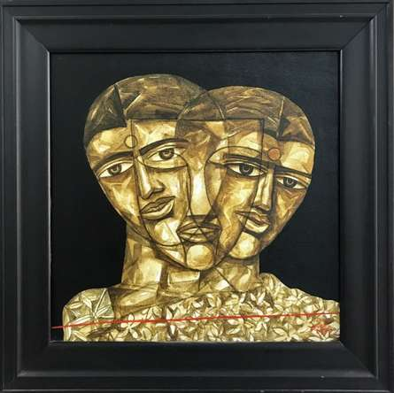Laxman Aelay Paintings | Acrylic Painting title Faces 2 by artist Laxman Aelay | ArtZolo.com