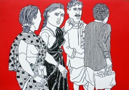 Laxman Aelay | Acrylic Painting title Song of Village 43 on Canvas | Artist Laxman Aelay Gallery | ArtZolo.com