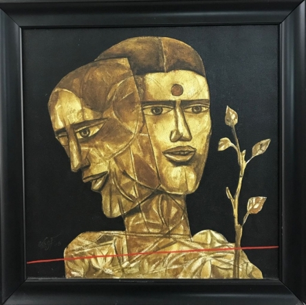 Figurative Acrylic Art Painting title 'Faces 1' by artist Laxman Aelay