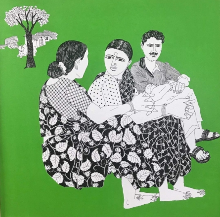 Laxman Aelay | Acrylic Painting title Village Scene 18 on Canvas | Artist Laxman Aelay Gallery | ArtZolo.com