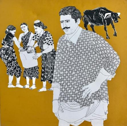 Laxman Aelay | Acrylic Painting title Village Scene 21 on Canvas | Artist Laxman Aelay Gallery | ArtZolo.com