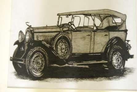 Vintage Car 2 | Painting by artist Sakshi Jain | charcoal | Cartridge Paper