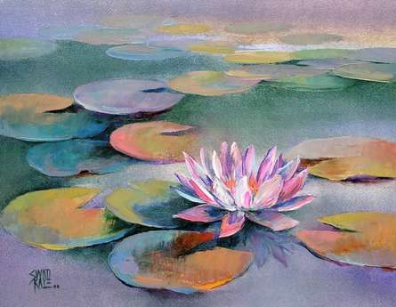Nature Oil Art Painting title 'Water Lilies 15' by artist Swati Kale