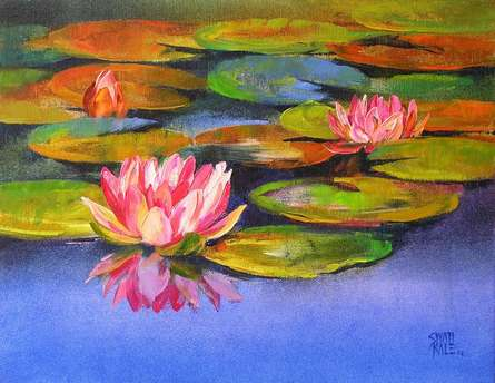 Swati Kale Paintings | Oil Painting - Water Lilies 17 by artist Swati Kale | ArtZolo.com