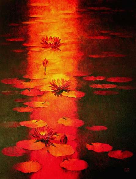 Nature Oil Art Painting title Water Lilies 60 by artist Swati Kale