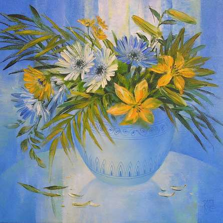 Nature Oil Art Painting title 'My Flowers 25' by artist Swati Kale
