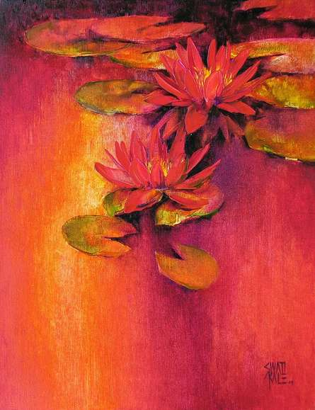 Nature Oil Art Painting title 'Water Lilies 11' by artist Swati Kale