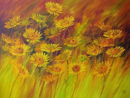 Nature Oil Art Painting title 'The Flower Bloom 15' by artist Swati Kale