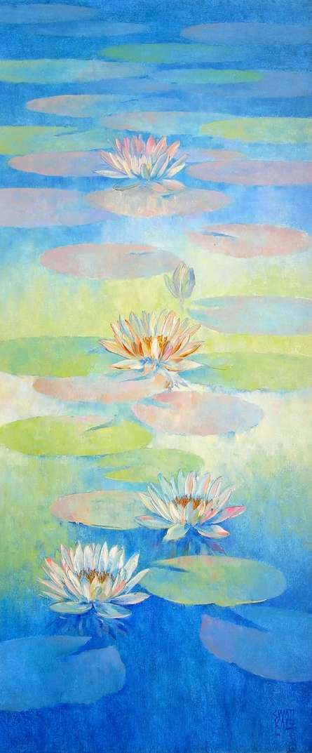 Nature Oil Art Painting title 'Water Lilies 69' by artist Swati Kale