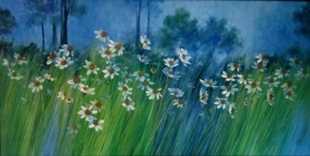 Swati Kale Paintings   Oil Painting - Wild Floral Beauty 1 by artist Swati Kale   ArtZolo.com
