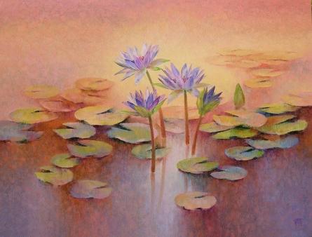 Nature Oil Art Painting title Purple Lilies by artist Swati Kale