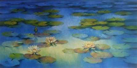 Swati Kale | Oil Painting title Blue Flower Beauty on Canvas | Artist Swati Kale Gallery | ArtZolo.com