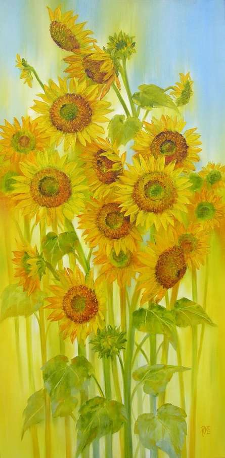 Swati Kale Paintings | Oil Painting - Sunflowers by artist Swati Kale | ArtZolo.com
