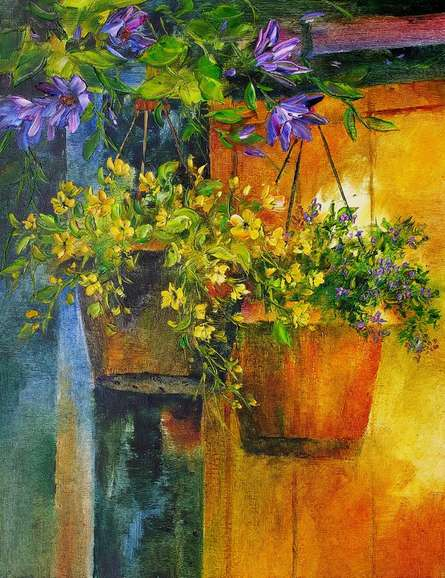 Nature Oil Art Painting title 'Flower Hanging Pots' by artist Swati Kale