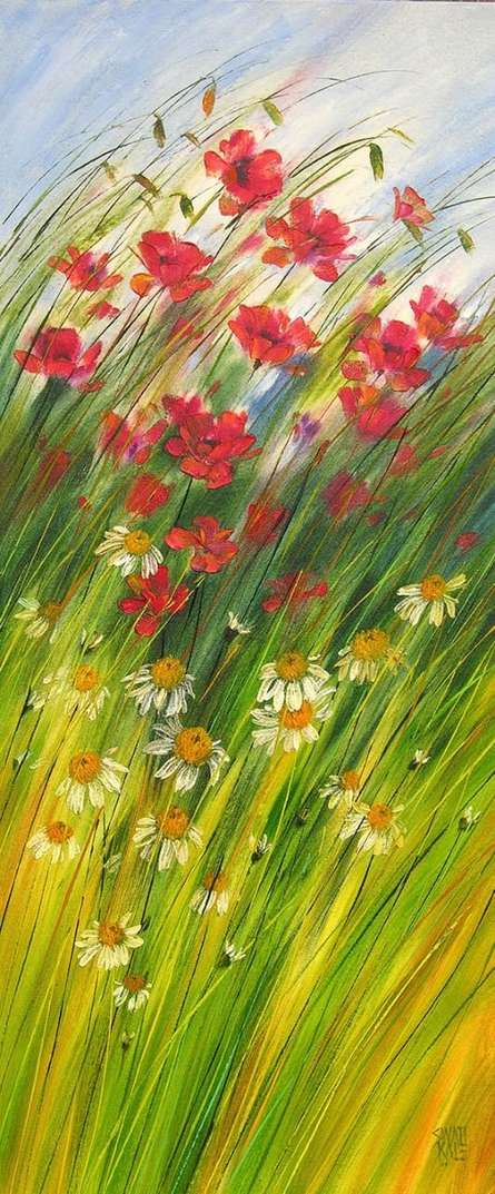 Nature Oil Art Painting title 'Flowers Wild Beauty 2' by artist Swati Kale