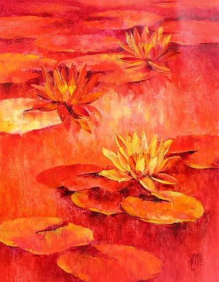 Water Lilies 51 | Painting by artist Swati Kale | oil | Canvas