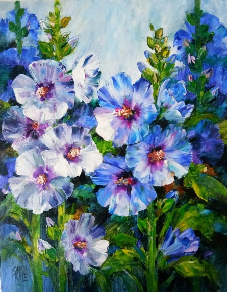 Nature Oil Art Painting title 'Hollyhocks 1' by artist Swati Kale