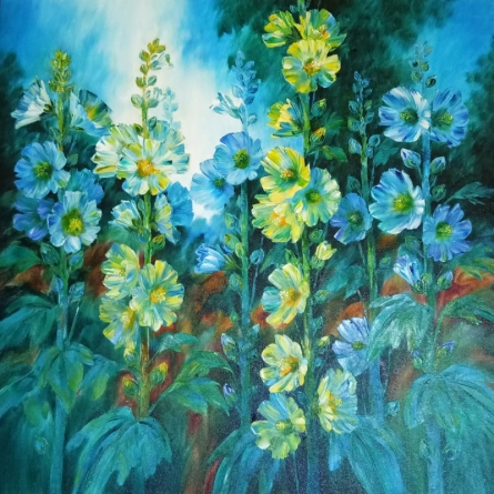Nature Oil Art Painting title 'Hollyhocks 14' by artist Swati Kale