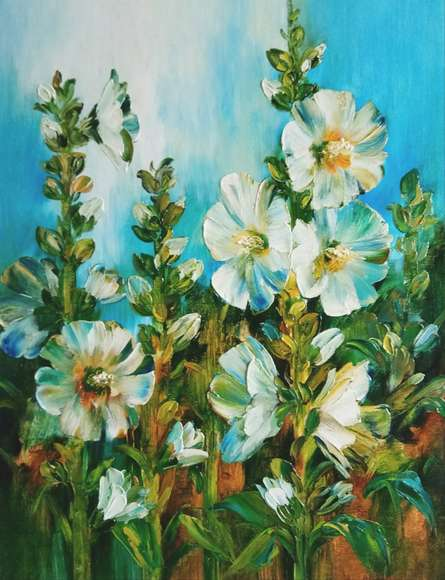 Nature Oil Art Painting title 'Hollyhocks 5' by artist Swati Kale