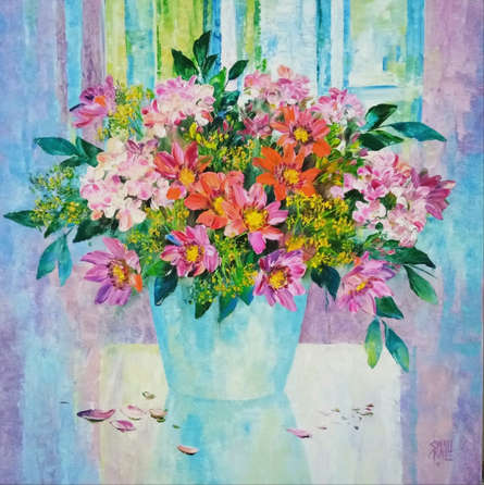 Nature Oil Art Painting title My Flowers by artist Swati Kale