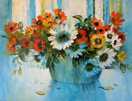 My Flowers 84 | Painting by artist Swati Kale | oil | Canvas