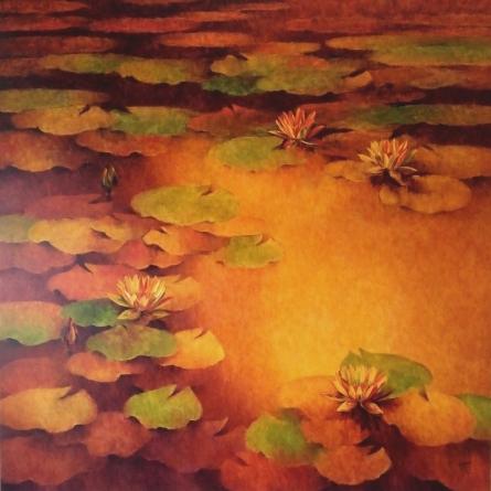 Waterlilies 1   Painting by artist Swati Kale   oil   Canvas
