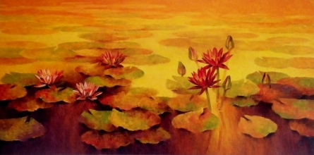 Nature Oil Art Painting title 'Waterlilies 2' by artist Swati Kale