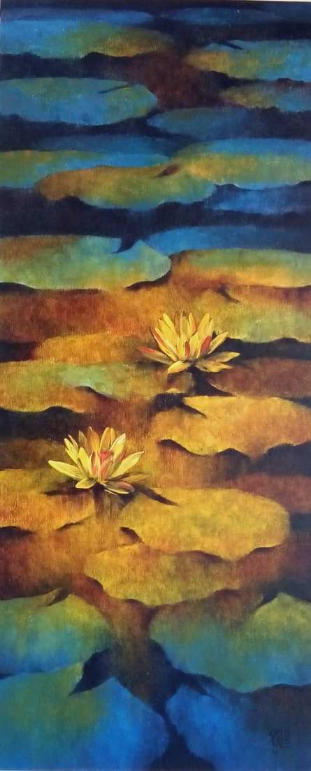 Swati Kale Paintings | Oil Painting title Waterlilies 4 by artist Swati Kale | ArtZolo.com