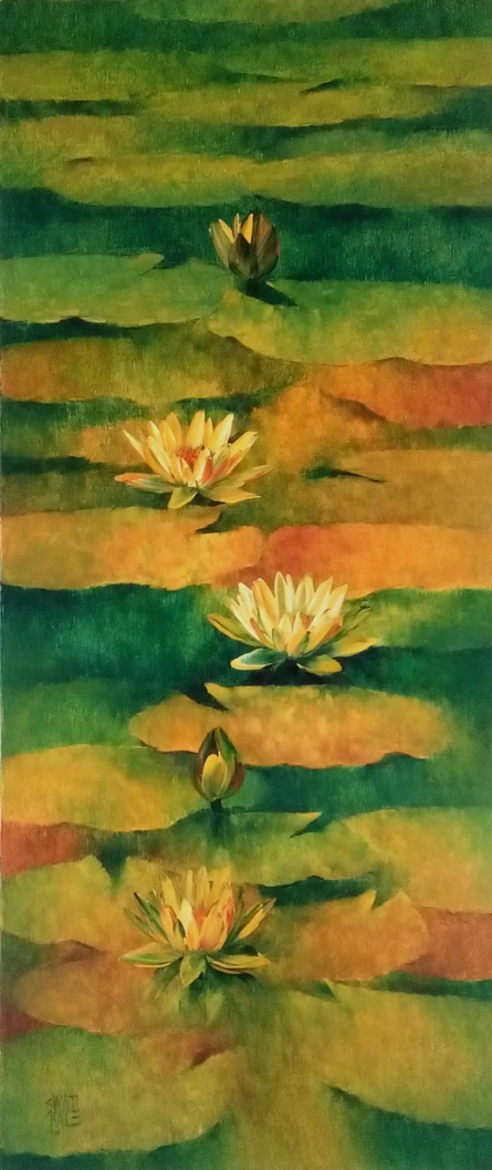 Nature Oil Art Painting title 'Waterlilies 5' by artist Swati Kale