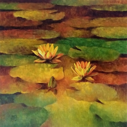 Nature Oil Art Painting title 'Waterlilies 6' by artist Swati Kale