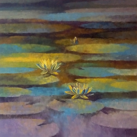 Nature Oil Art Painting title 'Waterlilies 7' by artist Swati Kale