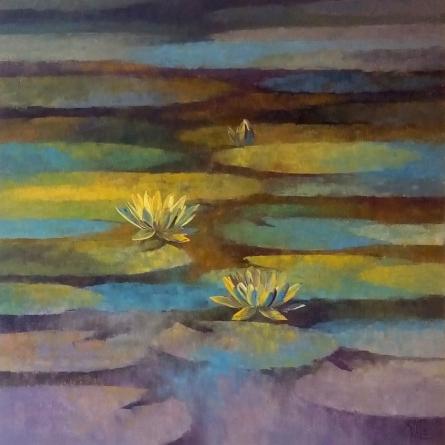 Nature Oil Art Painting title Waterlilies 7 by artist Swati Kale
