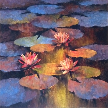 Nature Oil Art Painting title 'Waterlilies 8' by artist Swati Kale