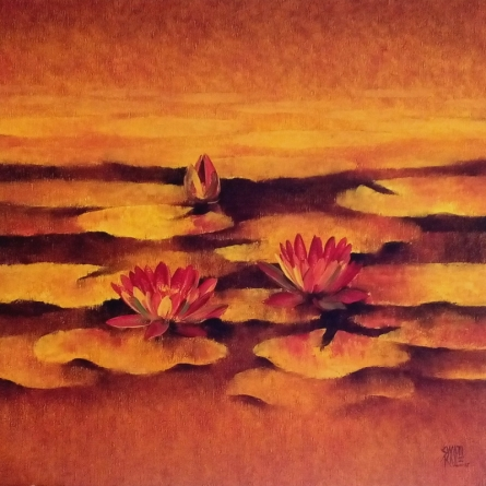 Nature Oil Art Painting title 'Waterlilies 9' by artist Swati Kale