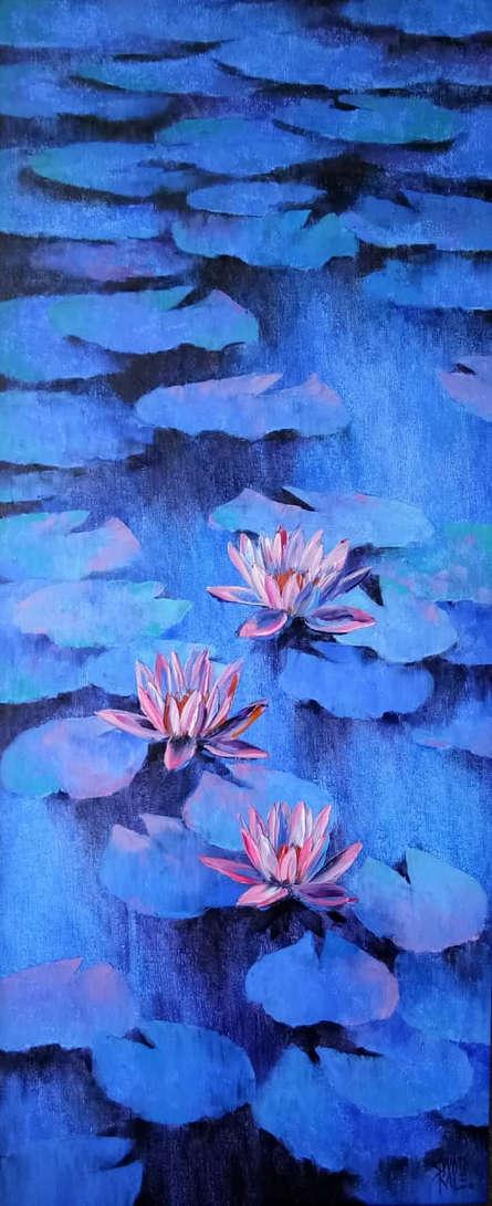 Swati Kale | Oil Painting title Waterlilies 102 on Canvas | Artist Swati Kale Gallery | ArtZolo.com