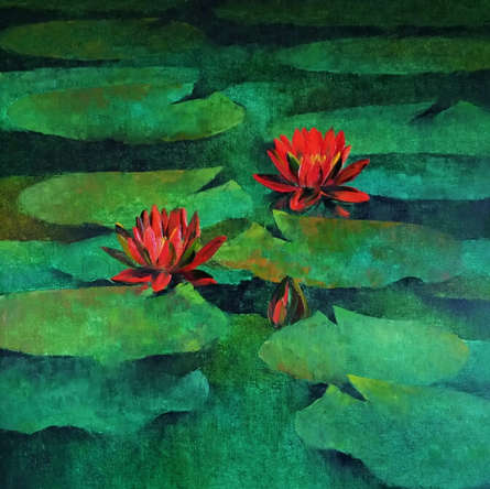 Nature Oil Art Painting title Waterlilies 104 by artist Swati Kale