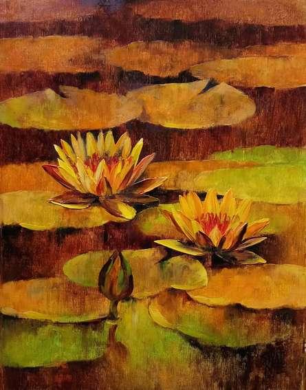 Waterlilies 94 | Painting by artist Swati Kale | oil | Canvas