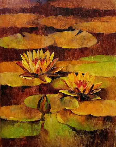 Swati Kale | Oil Painting title Waterlilies 94 on Canvas | Artist Swati Kale Gallery | ArtZolo.com