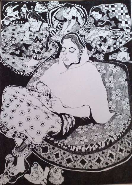Figurative Pen Art Drawing title 'The Boss' by artist Fatema Lodhger
