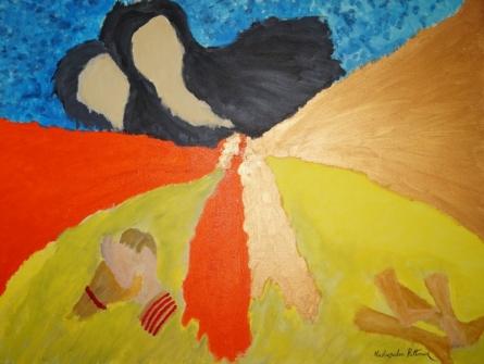Abstract- The Bonding | Painting by artist Madhusudan Pattanaik | acrylic | Canvas