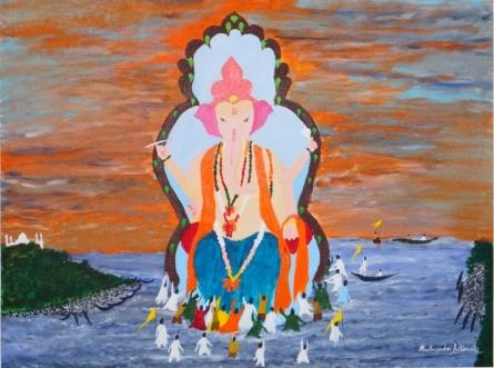 Bidding Adieu to Lord Ganesha | Painting by artist Madhusudan Pattanaik | acrylic | Canvas Board