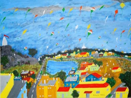 Kite Festival India   Painting by artist Madhusudan Pattanaik   acrylic   Canvas