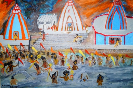 Kumbha Mela | Painting by artist Madhusudan Pattanaik | acrylic | Canvas Board
