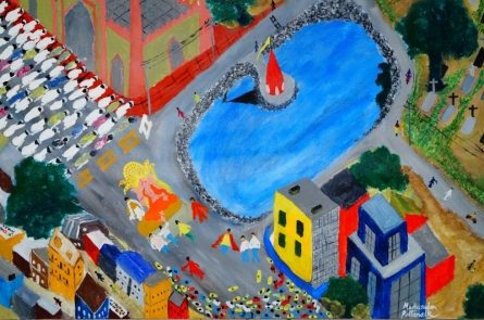 Secular City Scapes India | Painting by artist Madhusudan Pattanaik | acrylic | Canvas Board