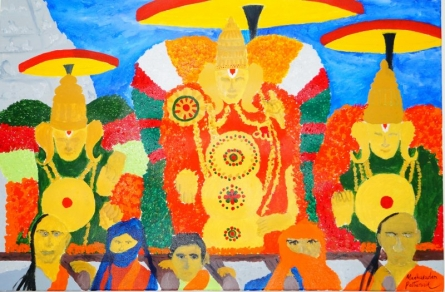 Brahmotsavam Tirupati TTD India   Painting by artist Madhusudan Pattanaik   acrylic   Canvas Board