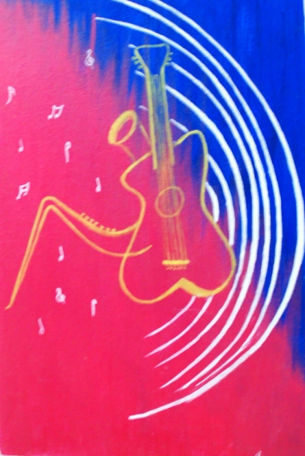 Vibrations from body to Universe | Painting by artist KSSK ACHARYA | acrylic | Canvas Board