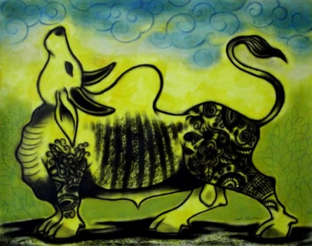 Bull(Sc323) | Painting by artist Sunil Chawdiker | acrylic | Paper