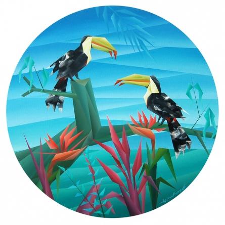 Cubist Acrylic Art Painting title 'Similarity' by artist NIRAKAR CHOWDHURY